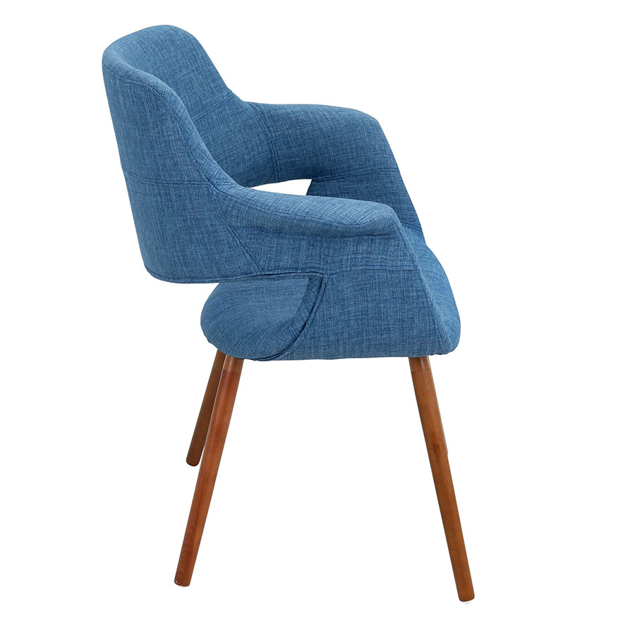 Valera Blue + Walnut Modern Arm Chair