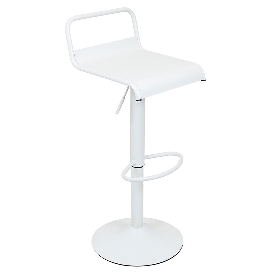 Vallejo White Modern Adjustable Stool