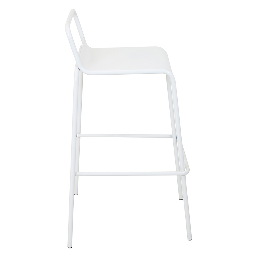 Vellejo Modern White Stacking Bar Stool - Side View
