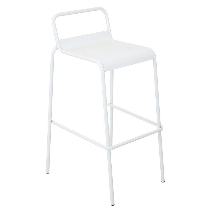 Vellejo Modern White Stacking Bar Stool