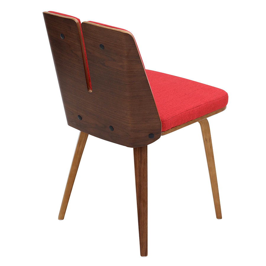 Valto Red + Walnut Contemporary Side Chair