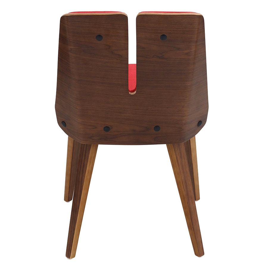 Valto Red Fabric + Solid Walnut Side Chair