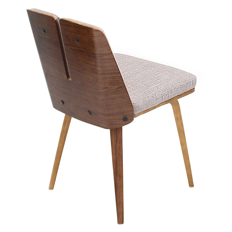 Valto Taupe Fabric + Walnut Modern Side Chair