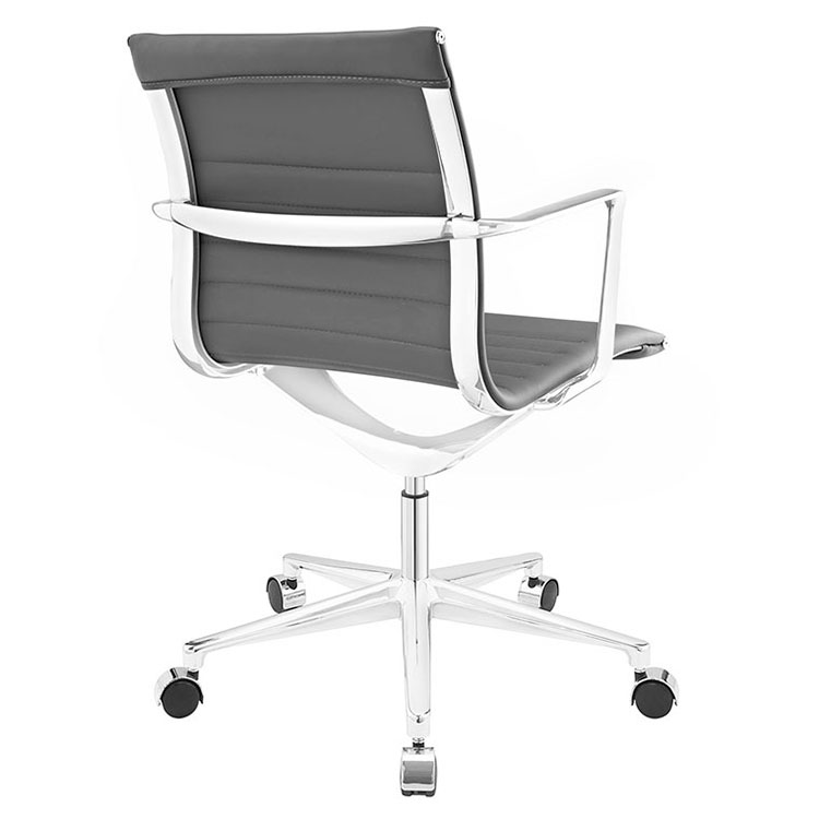 Vanguard Gray Mid-Century Modern Office Chair - Back View