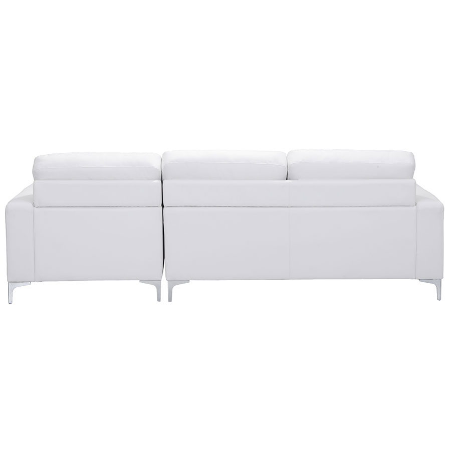 Vega White Leatherette + Brushed Steel Modern Sectional