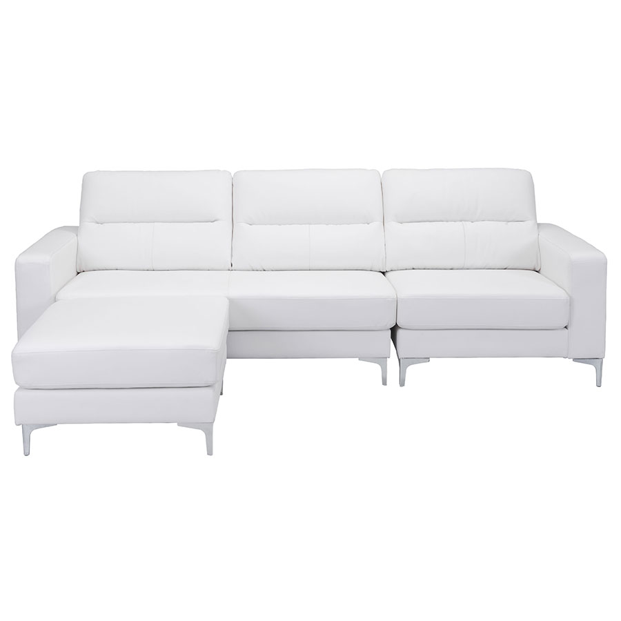 Vega White Leatherette + Brushed Steel Contemporary Sectional