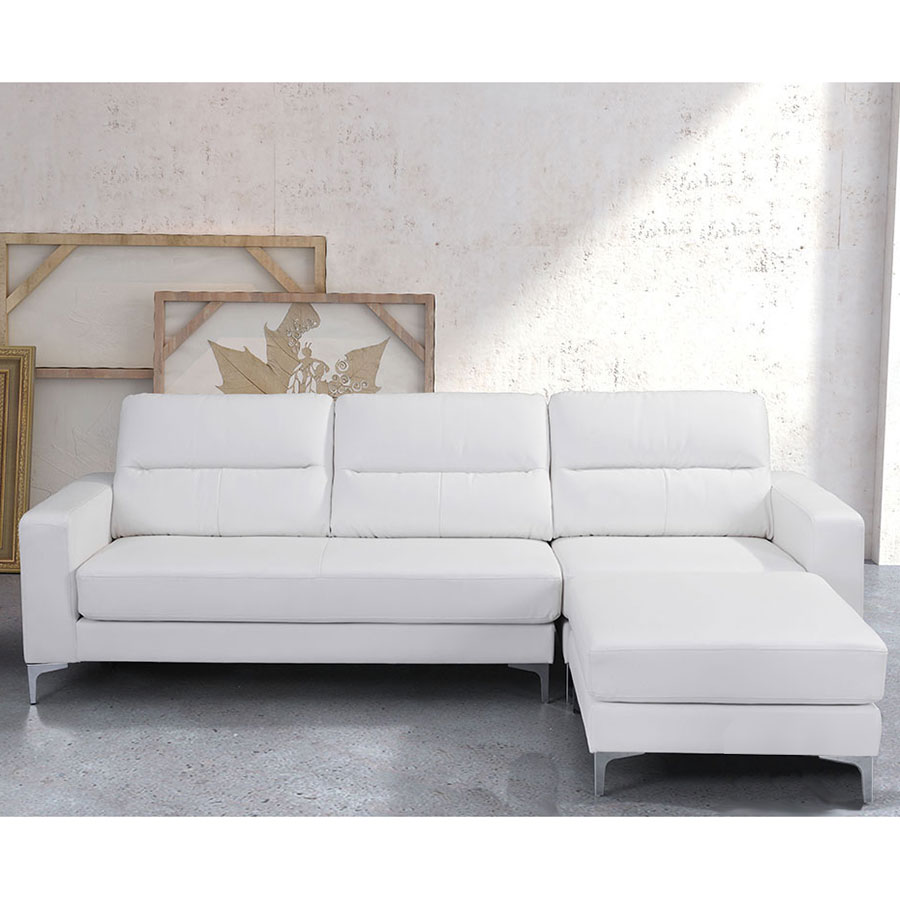 Vega White Leatherette Reversible Modern Sectional
