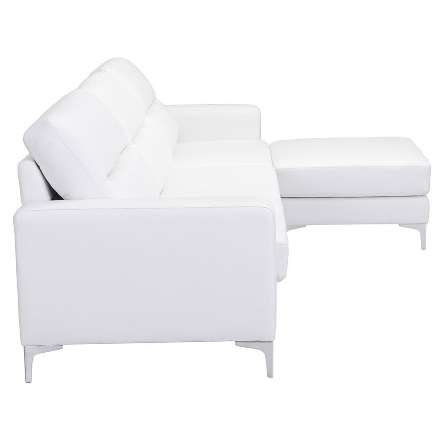 Vega White Leatherette Modern Sectional