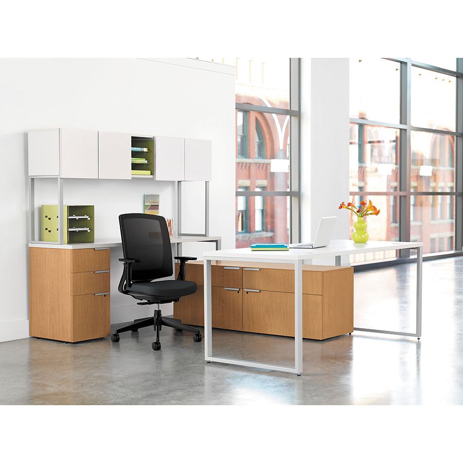 Velocity Modern Desk Collection - Silver Mesh Tops