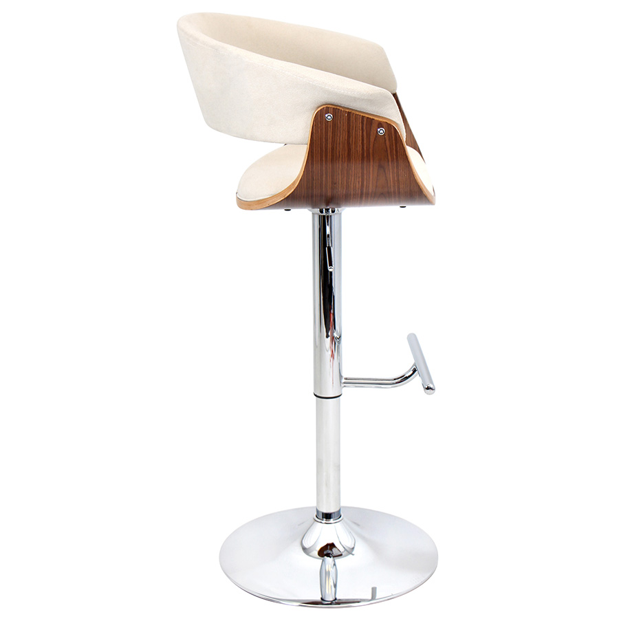 Venice Modern Walnut and Cream Adjustable Stool - Side View