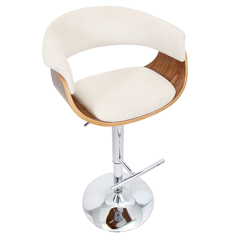 Venice Modern Walnut and Cream Adjustable Stool - Top View
