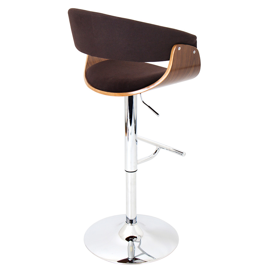 Venice Modern Walnut/Espresso Bar Stool - Back View