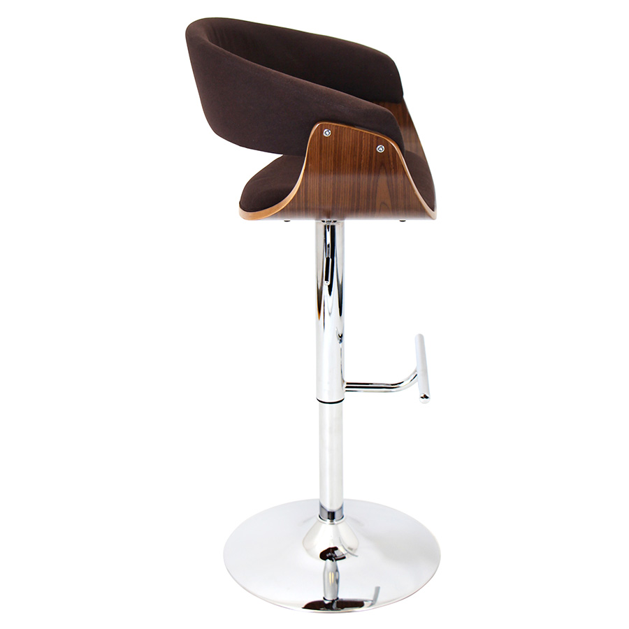 Venice Modern Walnut and Espresso Adjustable Stool - Side View