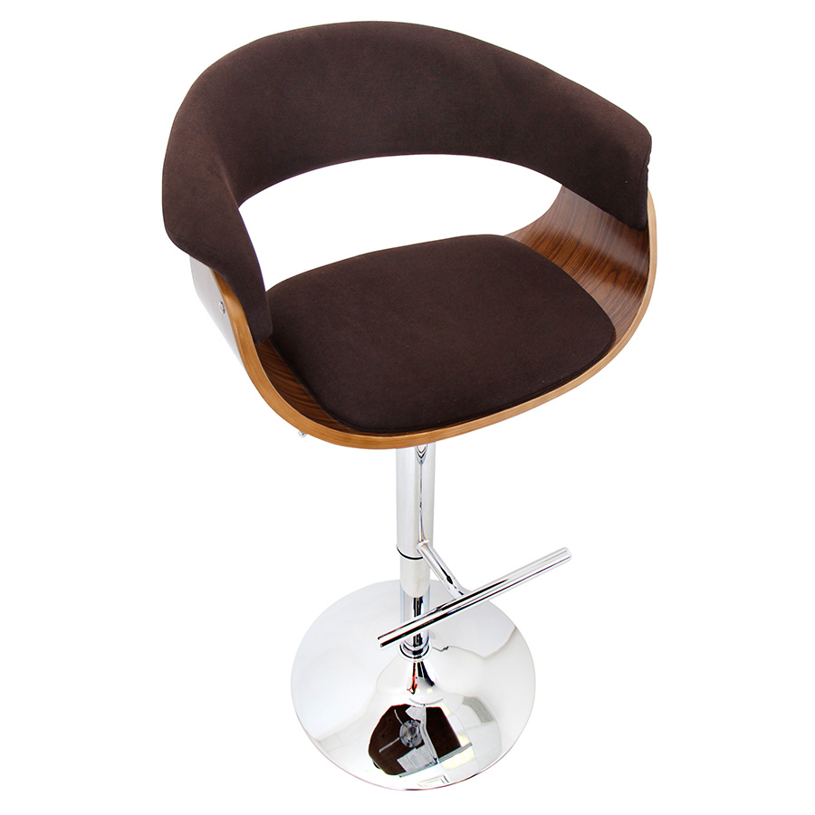 Venice Modern Walnut and Espresso Adjustable Stool - Top View