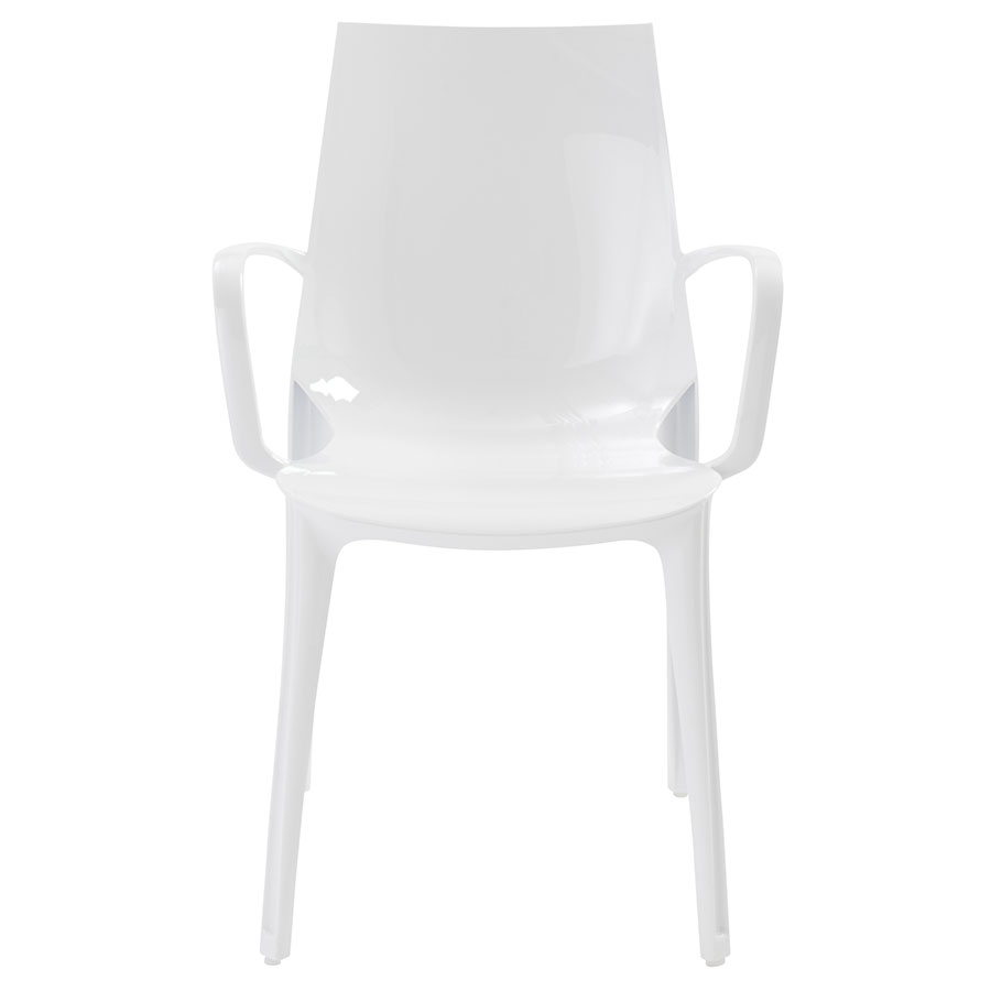 Verona Modern Glossy White Arm Chair - Front View