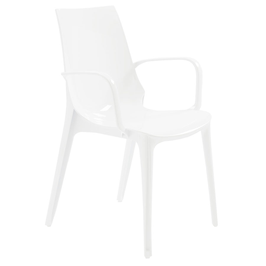 Verona Modern Glossy White Arm Chair