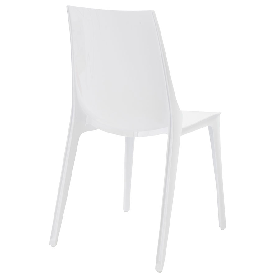 Verona Modern Glossy White Side Chair - Back View