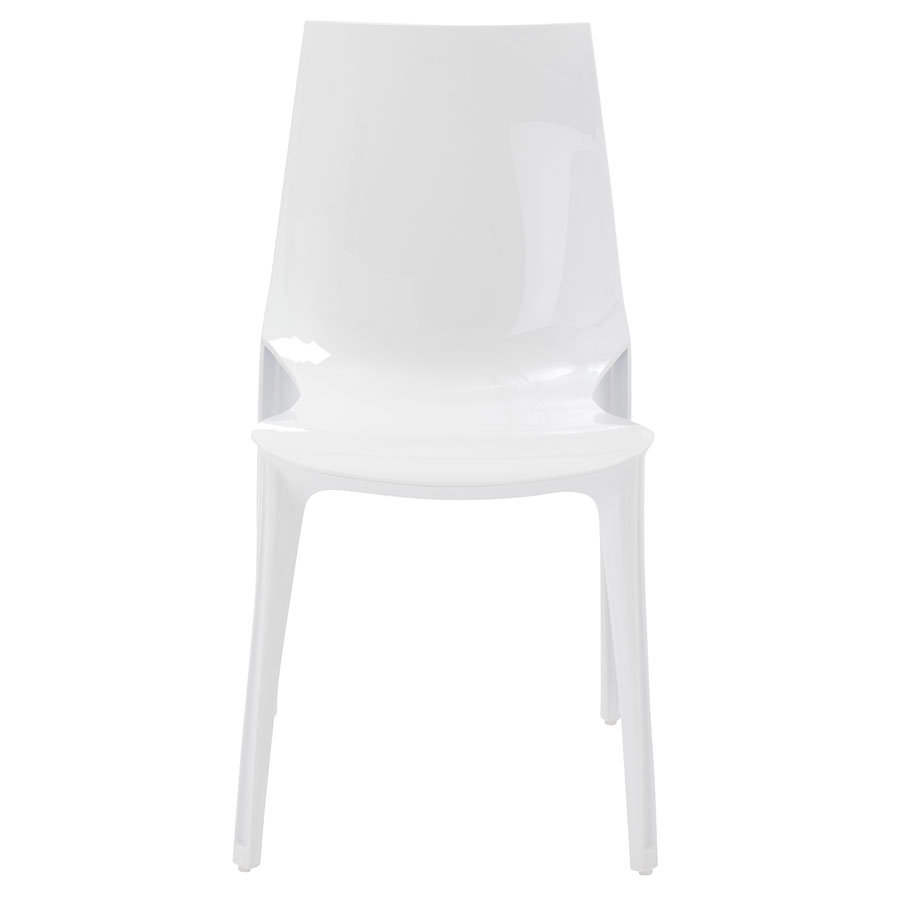 Verona Modern Glossy White Side Chair - Front View