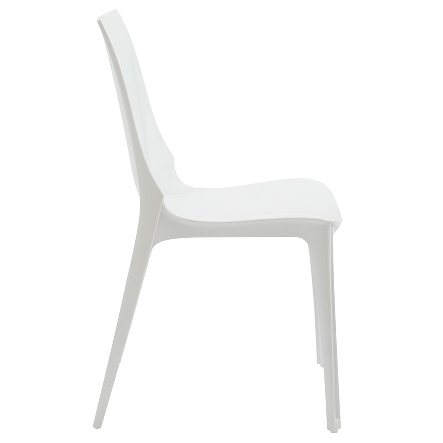 Verona Modern Glossy White Side Chair - Side View