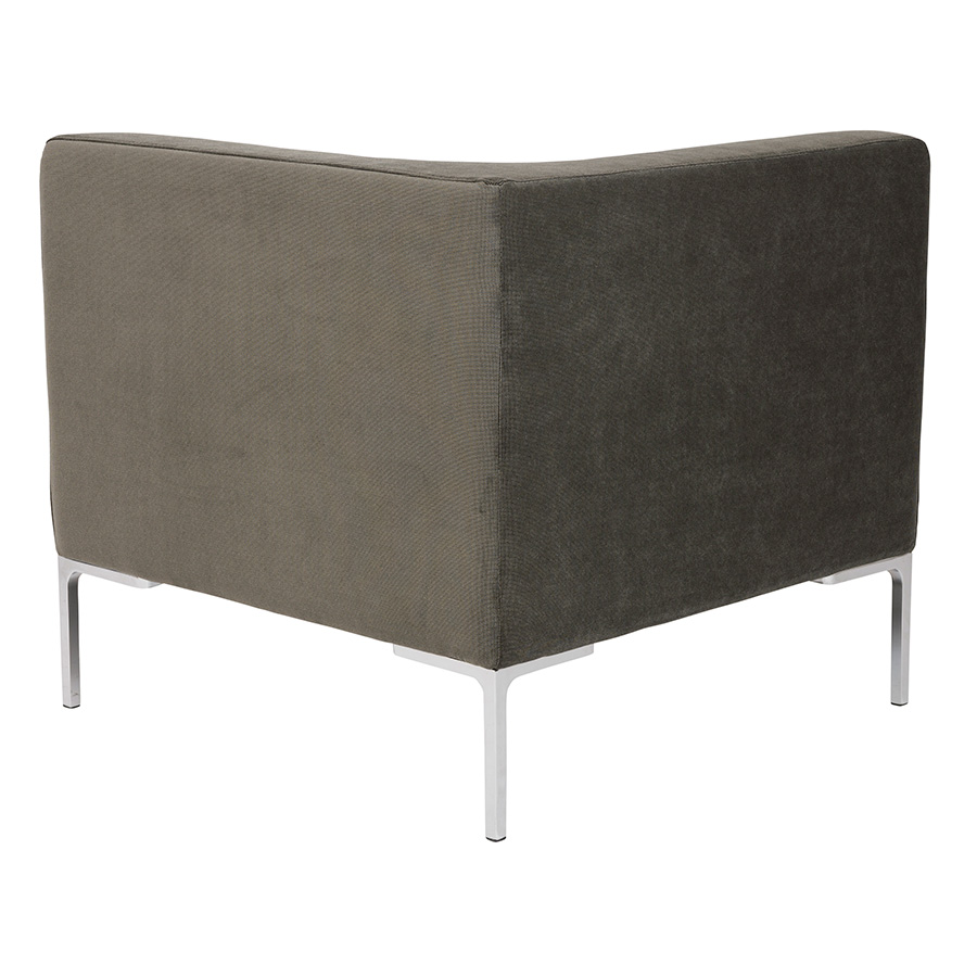 Vittorio Dark Gray Fabric Contemporary Corner Chair