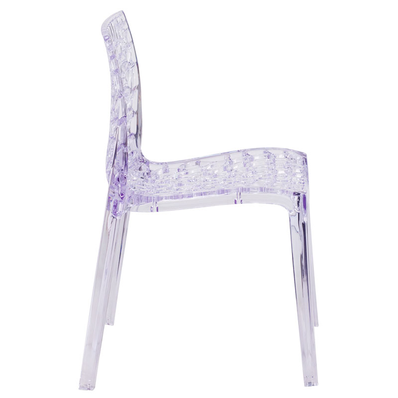 Vive Modern Transparent Stacking Chair - Side View