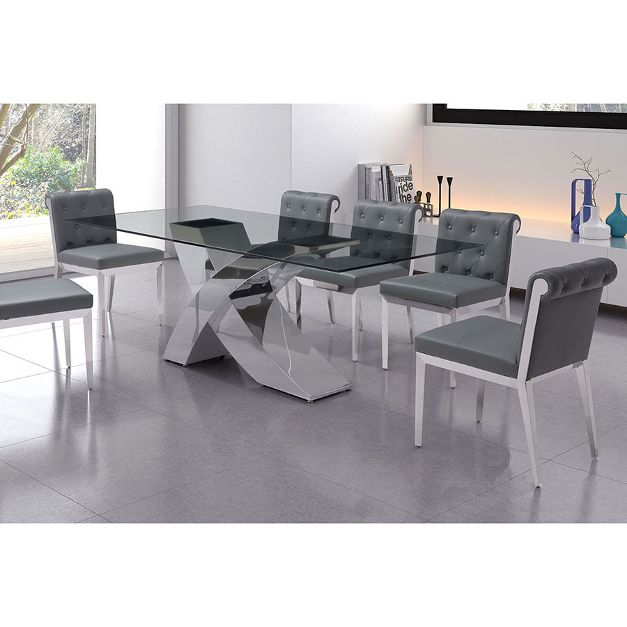 Waldus Polished Steel + Glass Contemporary Dining Table