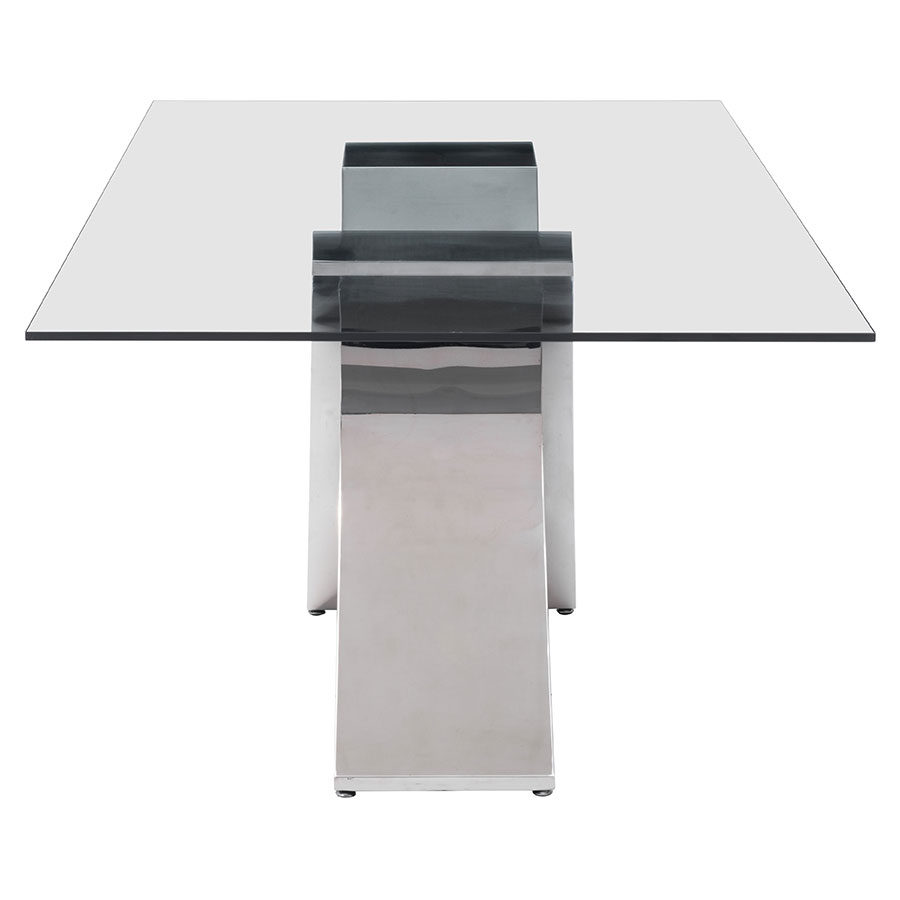 Waldus Polished Steel + Glass Modern Dining Table