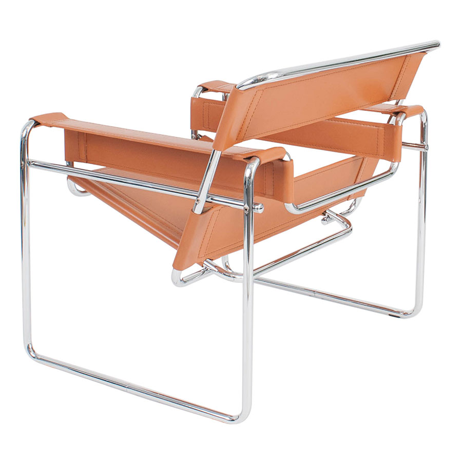 Wassily Modern Classic Chair in Cognac - Back Angle View
