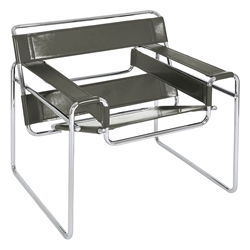 Wassily Modern Classic Chair in Gray Top Grain Leather