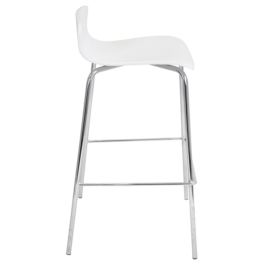Weatherford Modern White Stacking Bar Stool - Side View