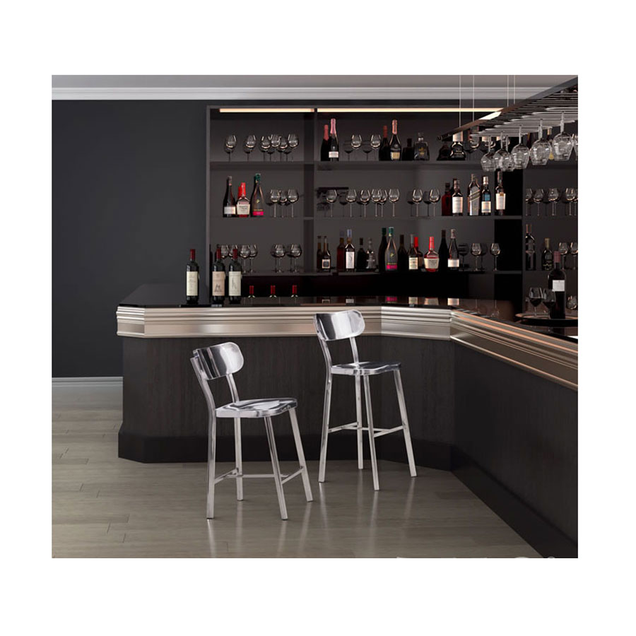 Weiland Polished Stainless Steel Contemporary Bar Stool