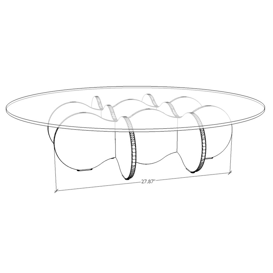 Wellington Modern Coffee Table - Drawing