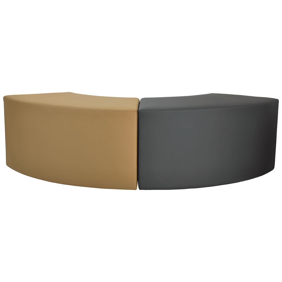 Westin Modern Chestnut + Slate Leather Arc Benches
