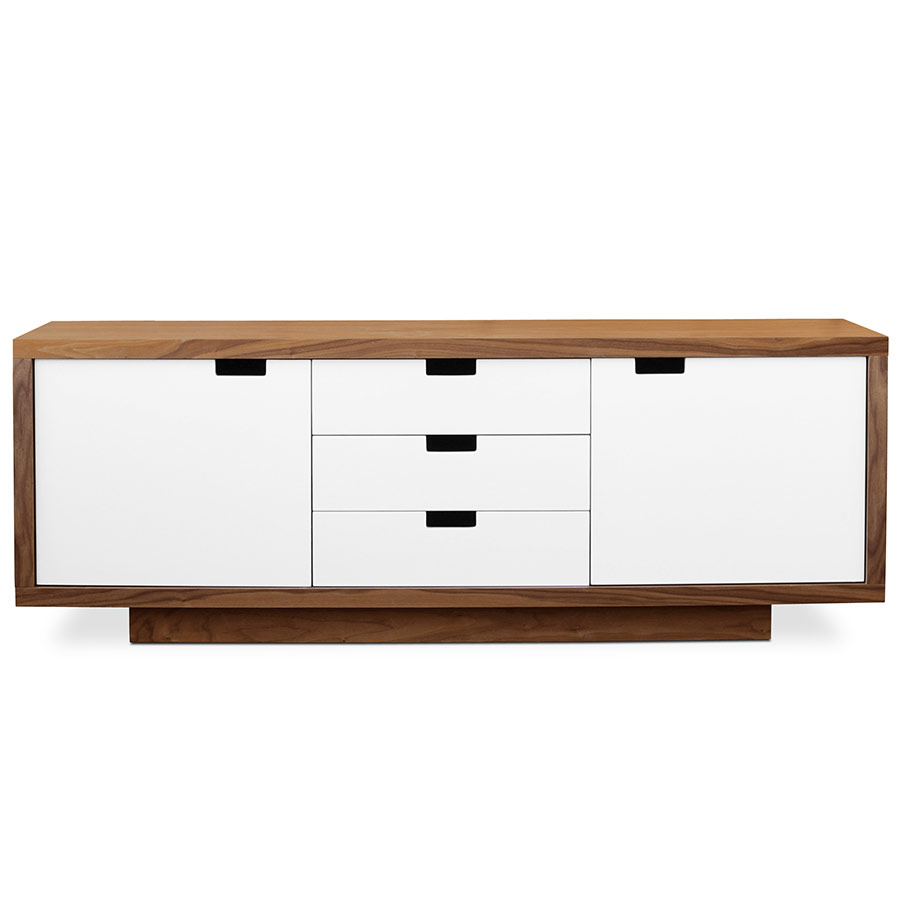 Wilson Contemporary Cabinet in Walnut and White Lacquer by Gus Modern