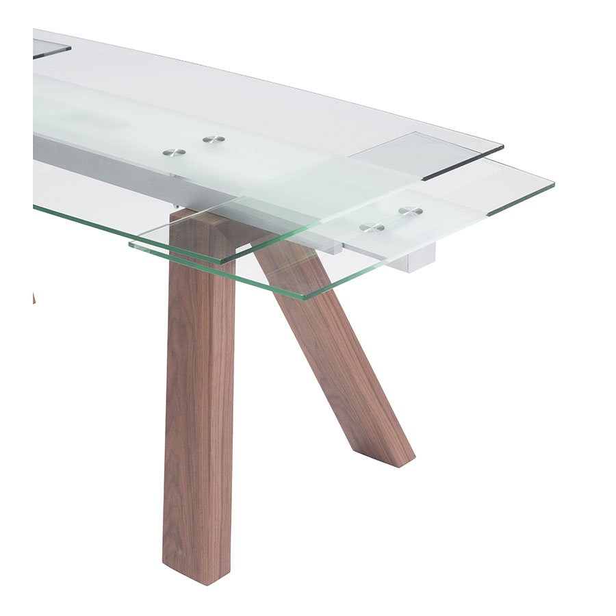 Wyatt Walnut + Frosted Glass Modern Extension Dining Table