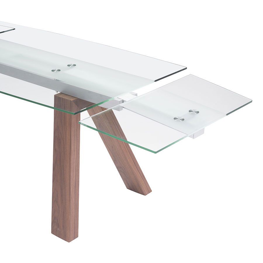 Wyatt Walnut + Glass Self Contained Contemporary Extension Table