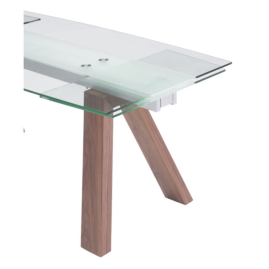 Wyatt Walnut + Glass Self Contained Modern Extension Table