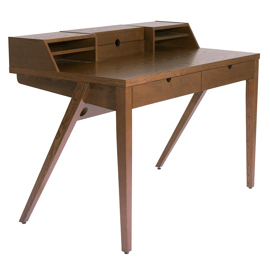 Yale Modern Walnut Desk with Storage Hutch