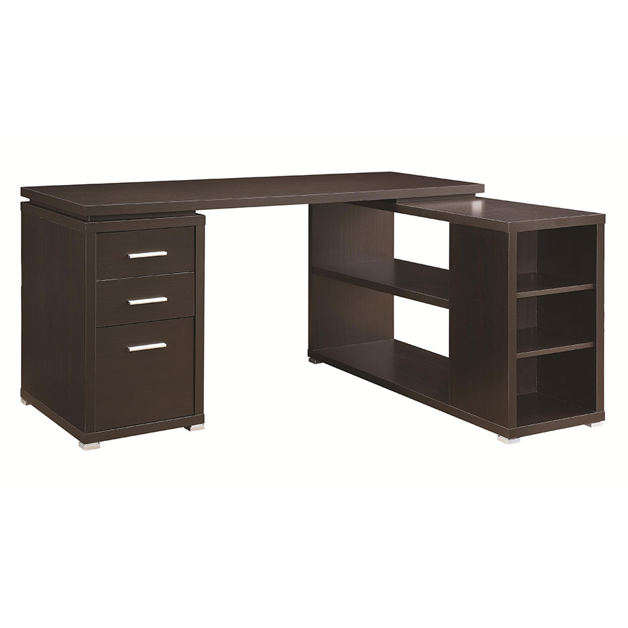 Yvonne Modern Cappuccino Desk w/ Shelf + File