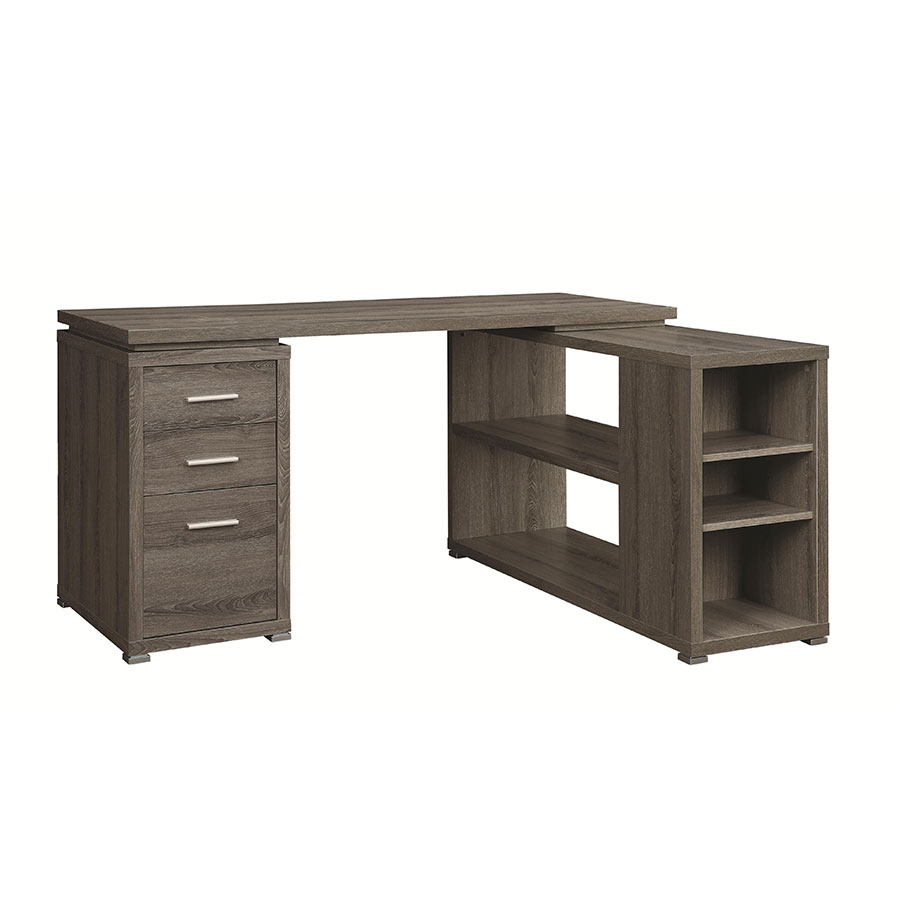 Yvonne Modern Weathered Gray Desk w/ Shelf + File