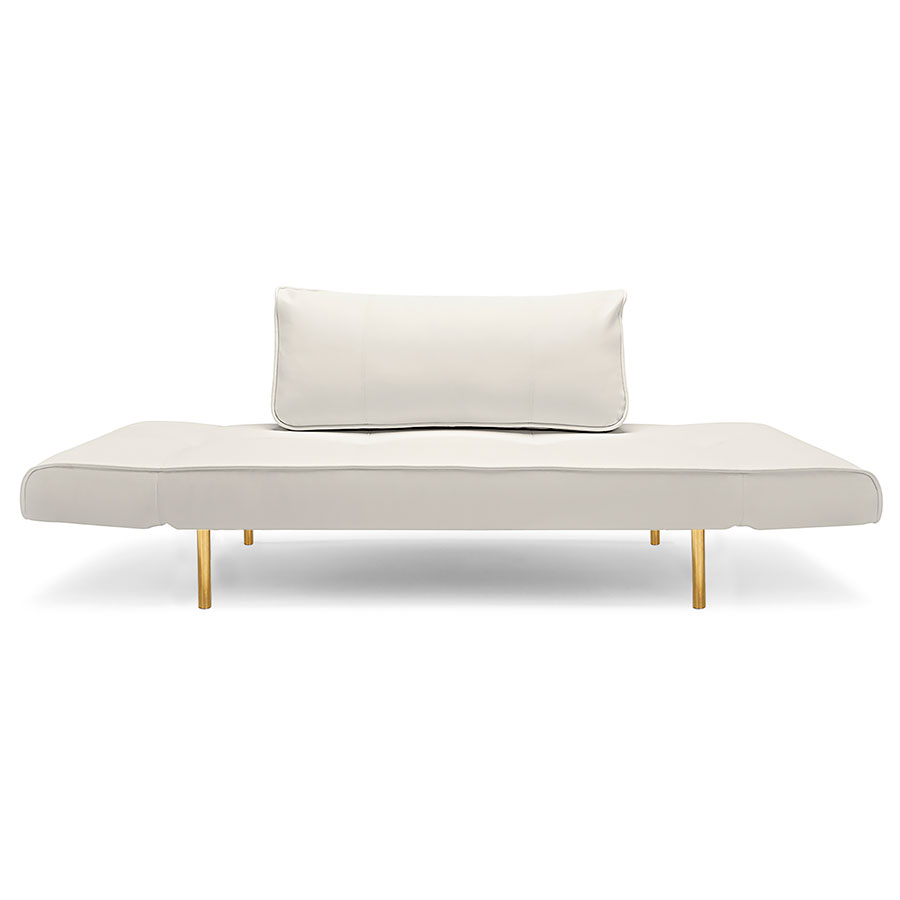 Zeal Modern Daybed in White Polyurethane w/ Brass
