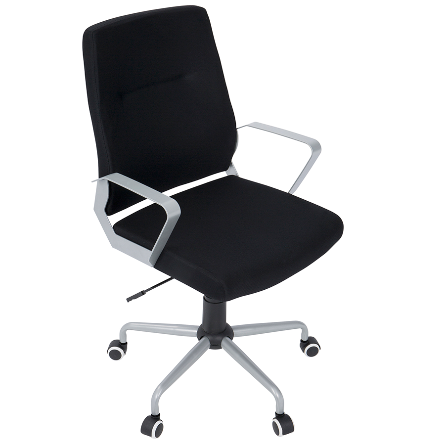 Zeno Black Fabric + Metal Modern Adjustable Office Chair
