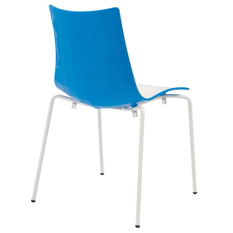 Zonda Modern Blue and White Side Chair - Back View