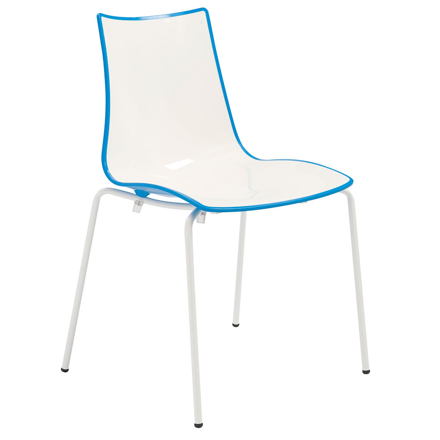 Zonda Modern Blue and White Side Chair