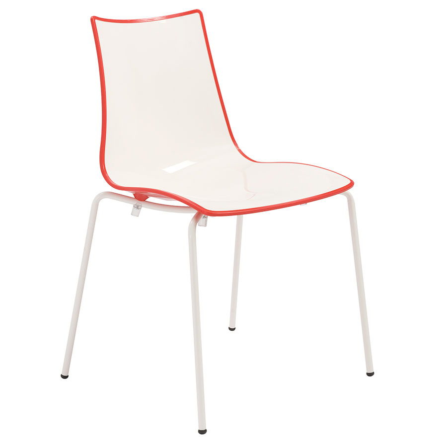 Zonda Modern Red and White Side Chair