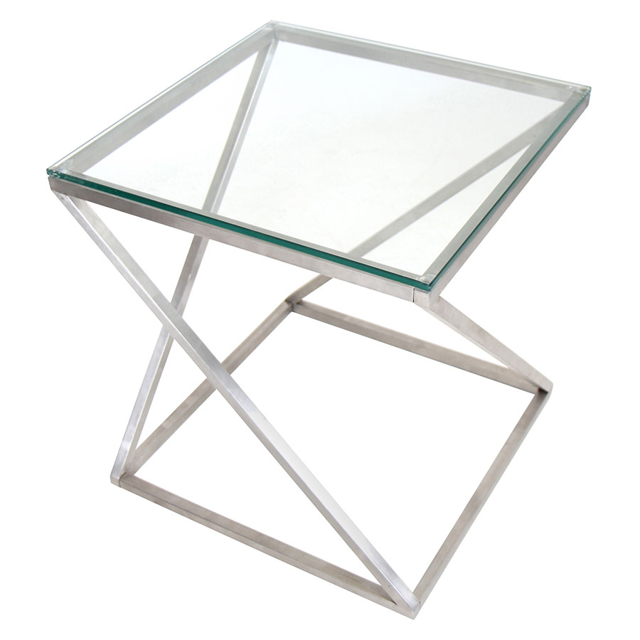Zora Glass + Metal Modern End Table
