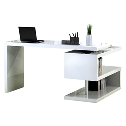 Atkinson Modern White Desk with Bookcase