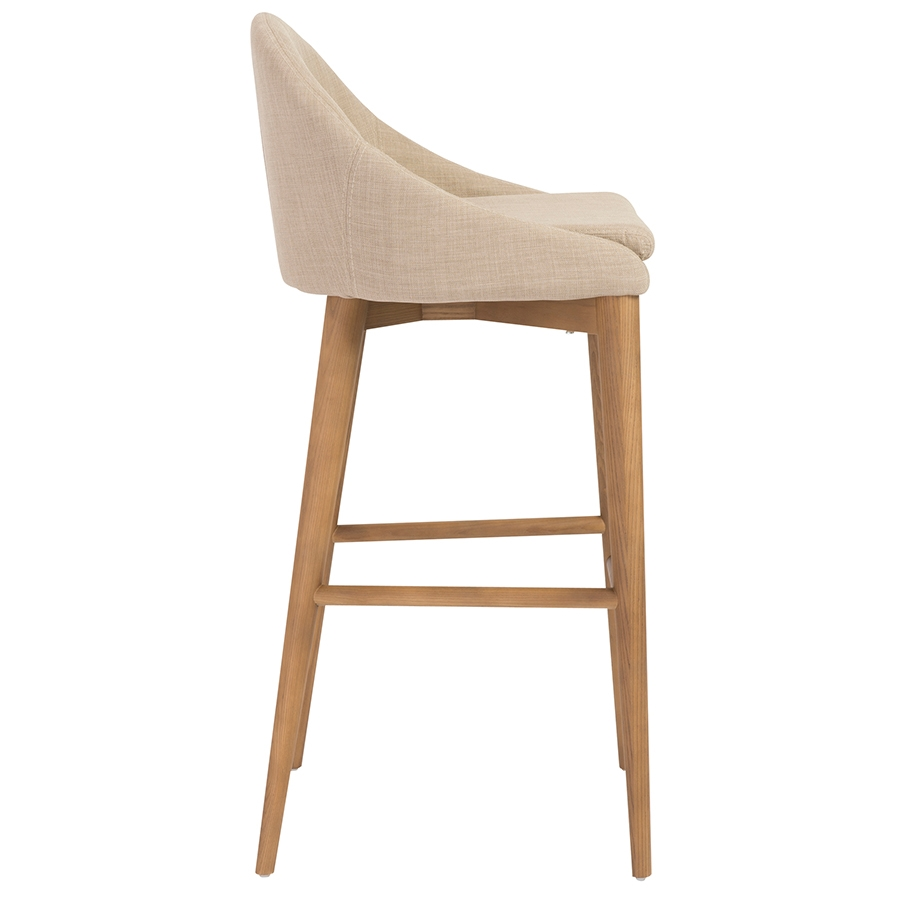 Barrett Modern Tan Bar Stool - Side View