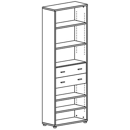 Bock Tall Modern Bookcase; Bock Tall Bookcase - Optional Drawer Placement