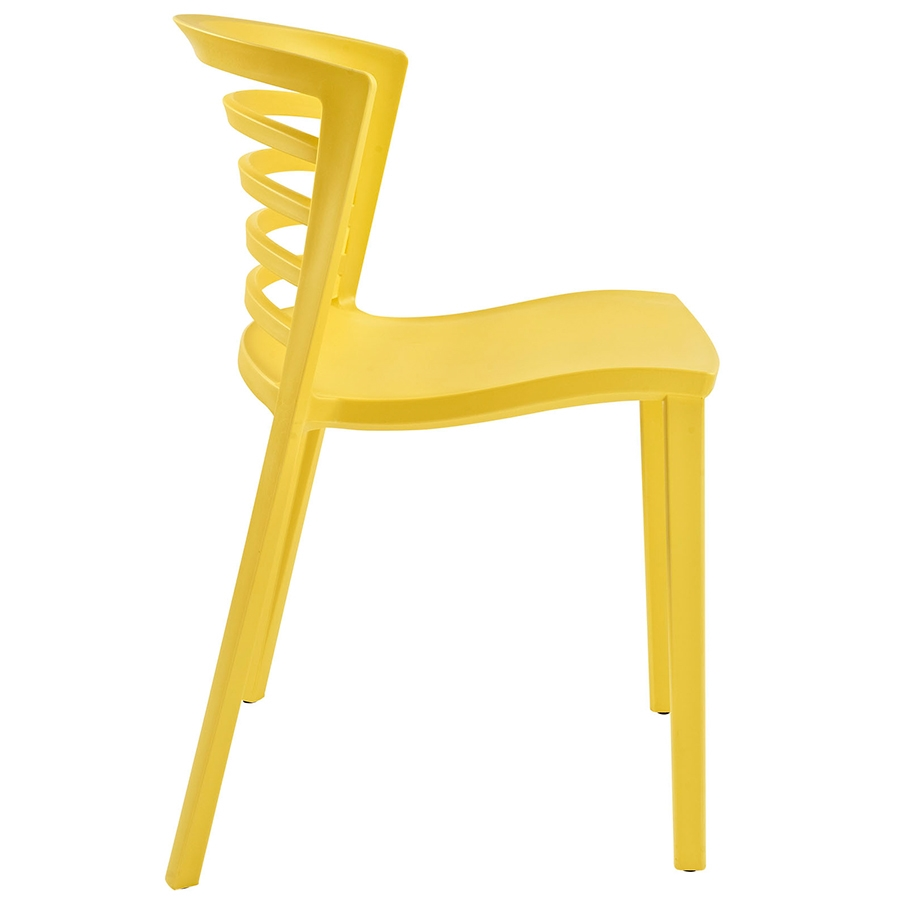 Contour Yellow Modern Dining Chair Modern Dining Chair - Side View
